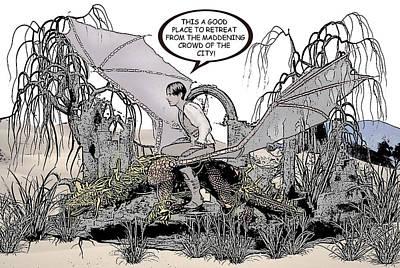 Dragon And Master Comic Illustration 2 Art Print