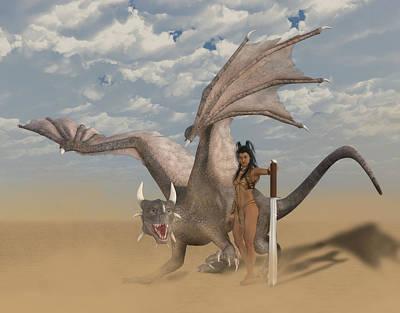 Digital Art - Dragon And Master by Solomon Barroa