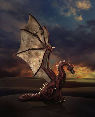 Dragon At Sunset Art Print