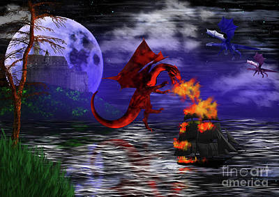 Digital Art - Dragon Attack - Dragon Attacking Boat Under A Full Moon by Tracey Everington