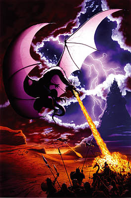 Dragon Attack Print by The Dragon Chronicles - Steve Re
