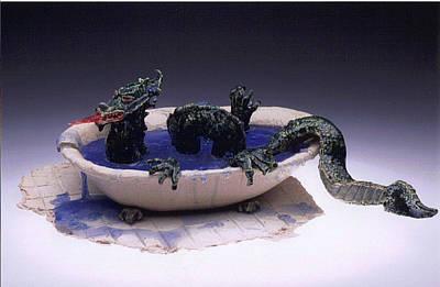 Dragon Bath Art Print by Doris Lindsey