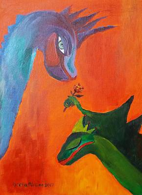 Painting - Dragon Blushed by Geeta Biswas