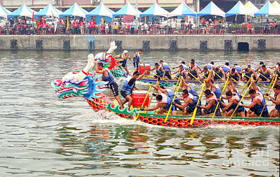 Photograph - Dragon Boat Races In Taiwan by Yali Shi