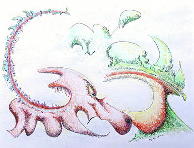 Green Drawing - Dragon by Dave Martsolf