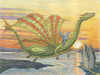 Toronto Artist Drawing - Dragon Dreams by Mark Johnson
