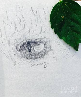Drawing - Dragon Eye by Mary Janell Tron