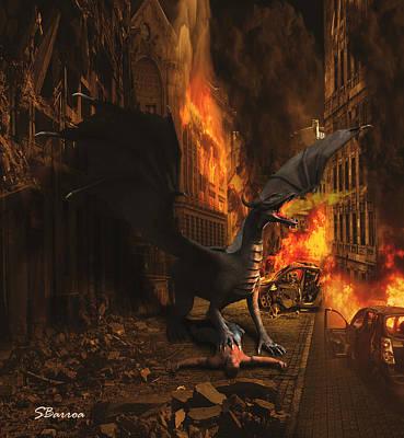 Ruins Mixed Media - Dragon Flame by Solomon Barroa