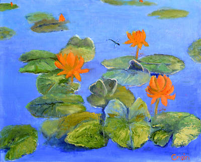 Painting - Dragon Fly And Lotus by Allan Crain