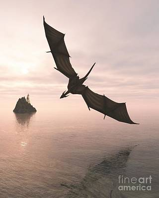 Digital Art - Dragon Flying Low Over The Sea At Evening by Fairy Fantasies