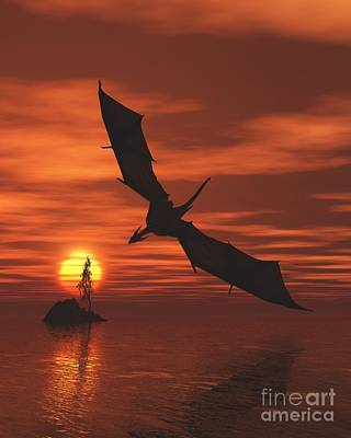 Digital Art - Dragon Flying Low Over The Sea At Sunset by Fairy Fantasies