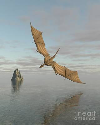 Digital Art - Dragon Flying Low Over The Sea In Daylight by Fairy Fantasies