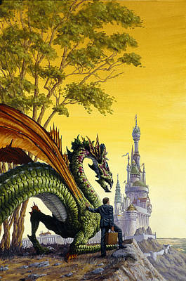 Knights Castle Painting - Dragon For Sale by Richard Hescox