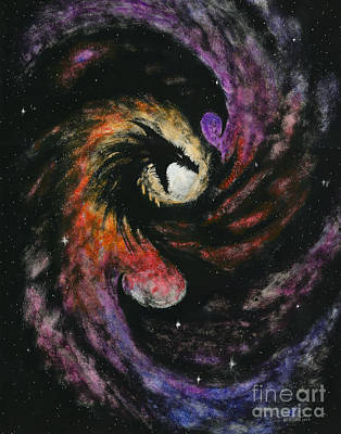 Fantasies Drawing - Dragon Galaxy by Stanley Morrison