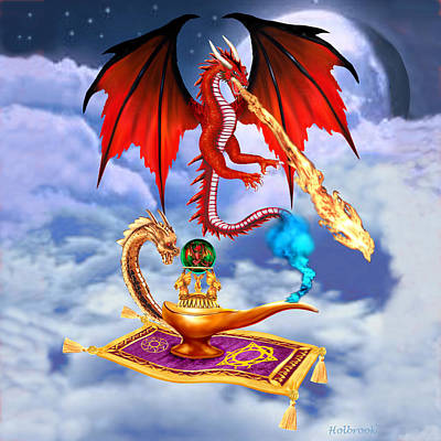 Dragon Genie Art Print by Glenn Holbrook