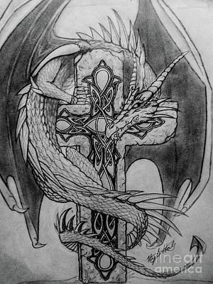 Celtic Cross Drawing - Dragon Guardian  by Kyle Hale