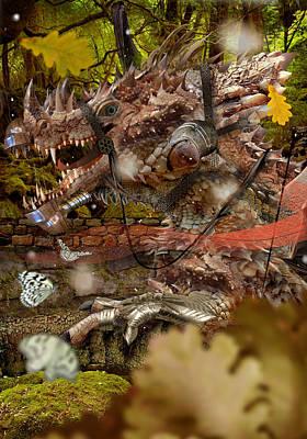 Digital Art - Dragon In Medieval Garden by Fabrizio Uffreduzzi