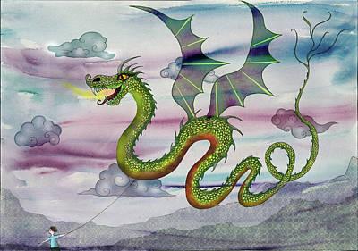 Children Flying Kite Painting - Dragon Kite by Sukilopi Art