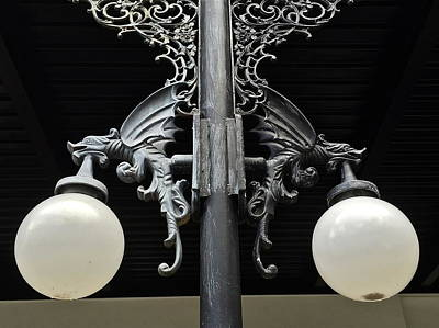 Photograph - Dragon Lamppost by Denise Mazzocco