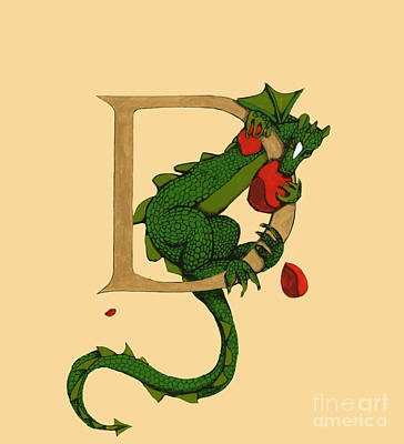 Dragon Letter D 2016 Art Print by Donna Huntriss