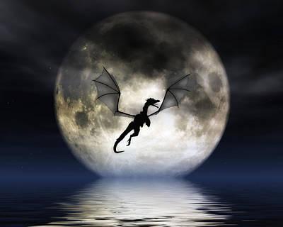 Dragon Digital Art - Dragon Moon by Julie Fain