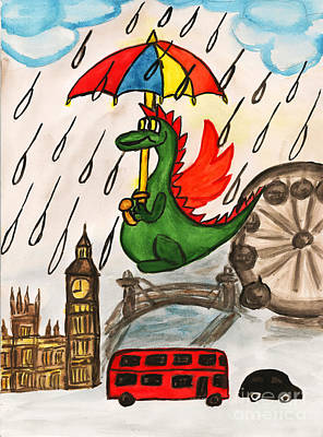 English Gouache Painting - Dragon New Year In England by Irina Afonskaya