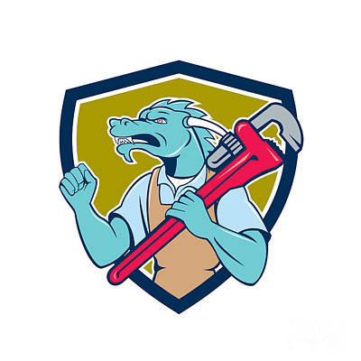 Dragon Plumber Monkey Wrench Fist Pump Shield Print by Aloysius Patrimonio