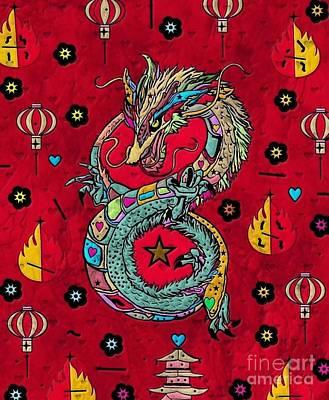 Digital Art - Dragon Popart By Nico Bielow by Nico Bielow