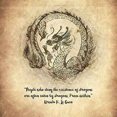 Fantasy Drawings - Dragon Quote by Zapista Zapista