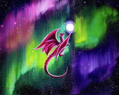 Chartreuse Painting - Dragon Soaring Through The Northern Lights by Laura Iverson