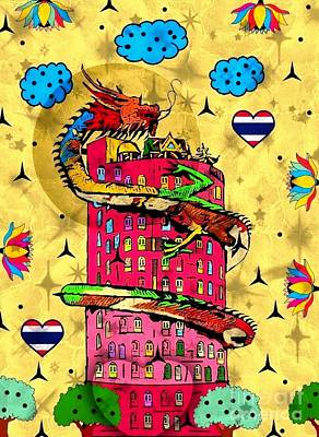 Digital Art - Dragon Tower Popart By Nico Bielow by Nico Bielow