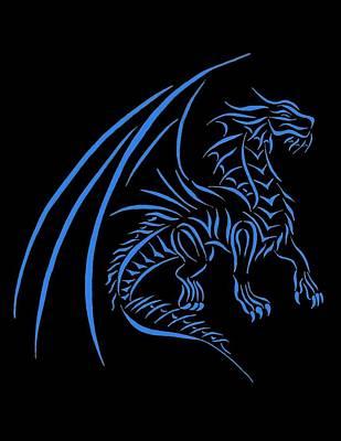 Dragon Tribal Line Design Art Print by Tina Barnash