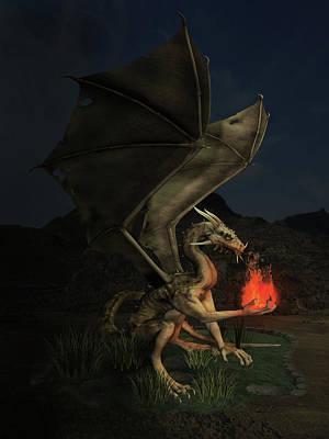 Digital Art - Dragon With Fireball by Solomon Barroa