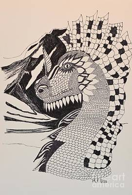 Drawing - Dragon - Zentangle 16-04 by Maria Urso