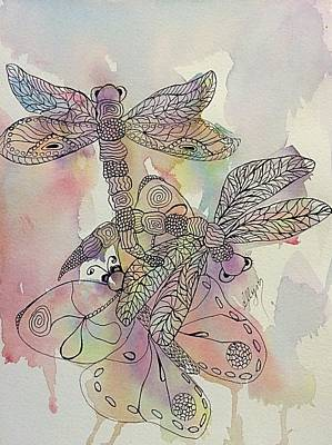 Painting - Dragonflies And Butterfly by Ellen Levinson