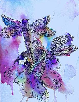 Painting - Dragonflies And Butterfly Jewels  by Ellen Levinson