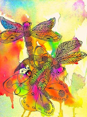 Painting - Dragonflies And Butterfly Psychedelic  by Ellen Levinson