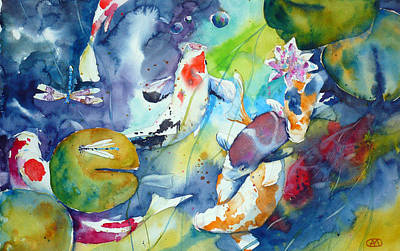 Dragonflies And Koi Fishes Original by Andre MEHU