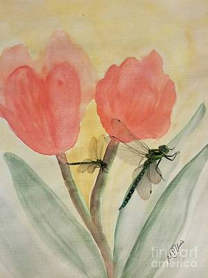 Painting - Dragonflies And Tulips by Maria Urso