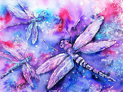 Wall Art - Painting - Dragonflies Dance by Carrie McKenzie