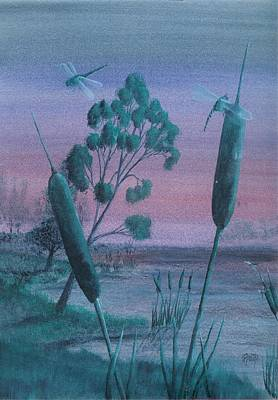 Painting - Dragonflies In The Dusk by Robert Meszaros