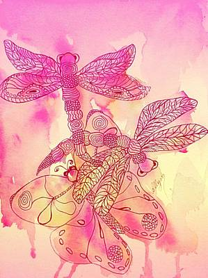 Painting - Dragonflies N Butterfly Peach Blush by Ellen Levinson