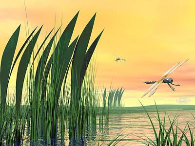 Dragonflies Upon Pond Art Print