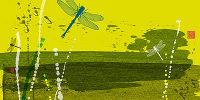 Dragonfly Digital Art - Dragonfly 3 Green by Thoth Adan