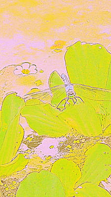 Peach Lilly Photograph - Dragonfly And Bloom by Victoria Beasley