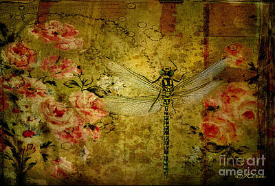 Photograph - Dragonfly And Roses by Kira Bodensted