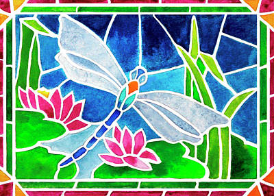 Glass Dragonfly Painting - Dragonfly And Water Lilies In Stained Glass 2 by Janis Grau