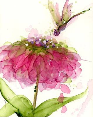 Painting - Dragonfly And Zinnia by Dawn Derman