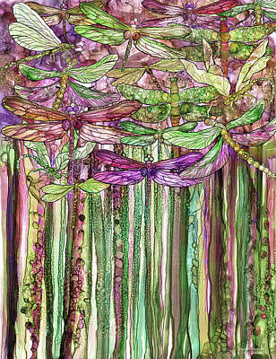 Print featuring the mixed media Dragonfly Bloomies 1 - Pink by Carol Cavalaris