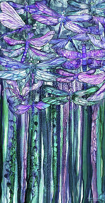 Print featuring the mixed media Dragonfly Bloomies 2 - Lavender Teal by Carol Cavalaris